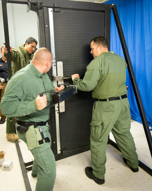 The training door in action.